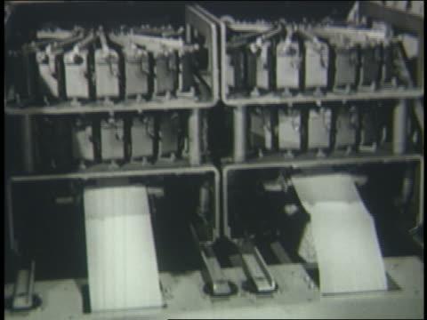 b/w 1950 tilt down tape running thru large computer - punch card stock videos & royalty-free footage