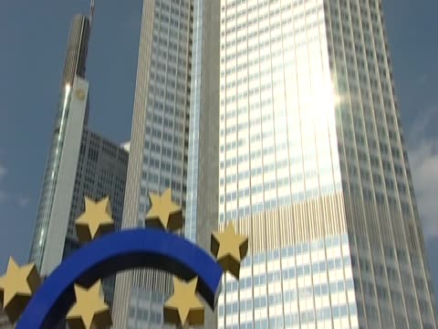 tilt down the european central bank - financial accessory stock videos & royalty-free footage