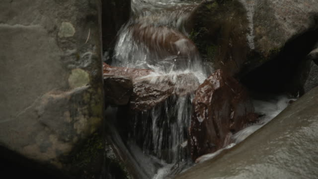 Tilt down, then up, water flowing over rocks in the Catskill Mountains, New York State, USA.
