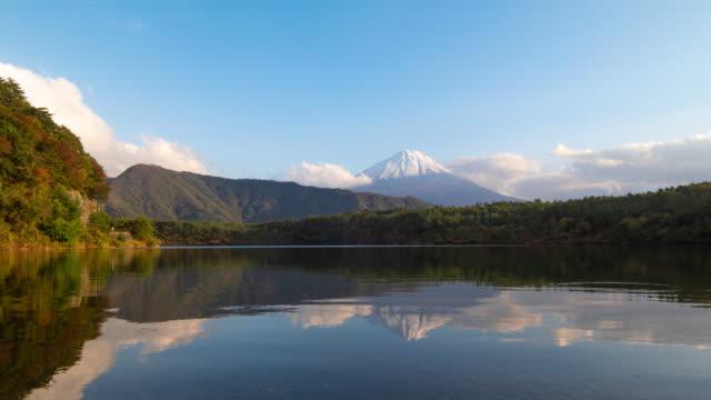 vídeos de stock, filmes e b-roll de inclinar para baixo tempo lapso 4k montanha fuji com céu azul claro e verde colina no lago saiko, prefeitura de yamanashi, região de chubu, japão - céu claro