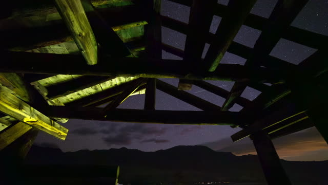 tilt down time lapse shot of famous wooden structure against stars at night - the smith mansion, wyoming - fast motion stock videos & royalty-free footage