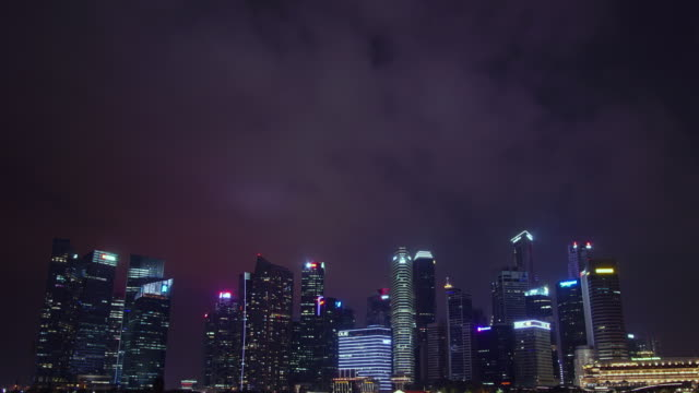 tilt down timelapse marina bay singapore cityscape - river singapore stock videos & royalty-free footage