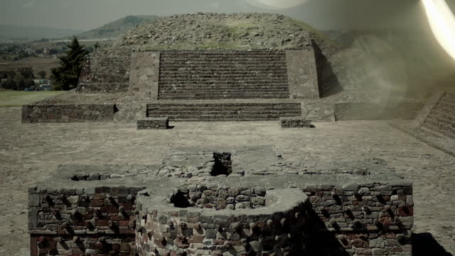 tilt down to monuments at aztec site, mexico - tilt down stock videos & royalty-free footage