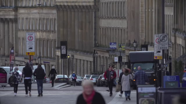 tilt down to newcastle upon tyne city street scenes - street stock videos & royalty-free footage