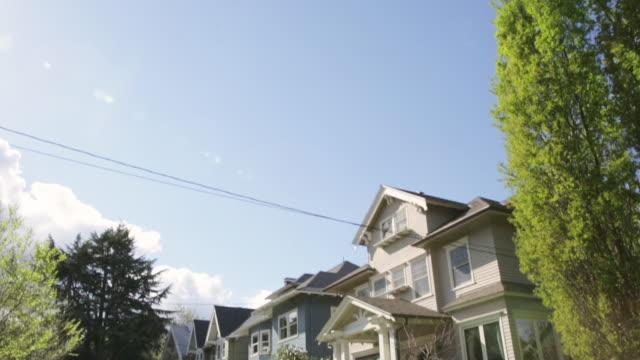 tilt down to reveal a quintessential northwest portland, oregon neighborhood - portland oregon house stock videos & royalty-free footage