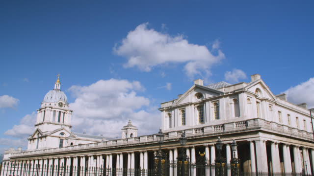 tilt down to the old royal naval college in greenwich on a sunny day - royal navy college greenwich stock videos & royalty-free footage