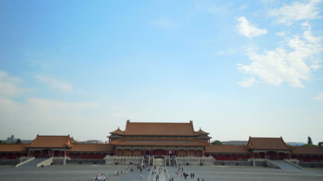 tilt down: tourists walking on footpath in forbidden city against sky - beijing, china - tilt down stock videos & royalty-free footage
