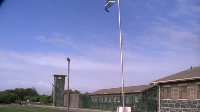 Tilt down tracking shot from the South African flag to the building on Robben Island