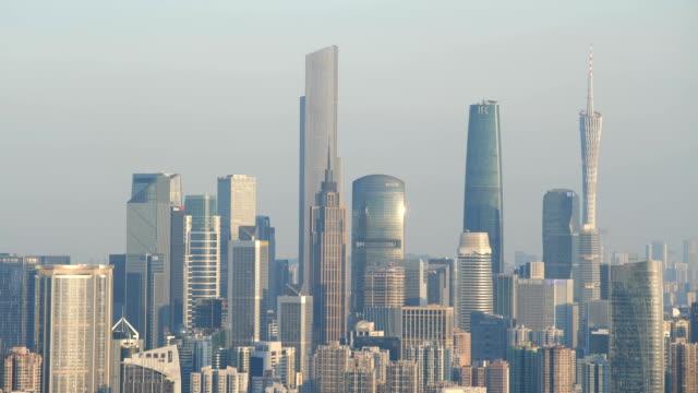 tilt down view of guangzhou skyline - tilt down stock videos & royalty-free footage