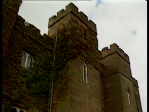 tilt down wall of scone palace perth scotland - perthshire stock videos & royalty-free footage