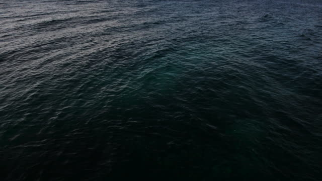 Tilt down, waves splash on dock