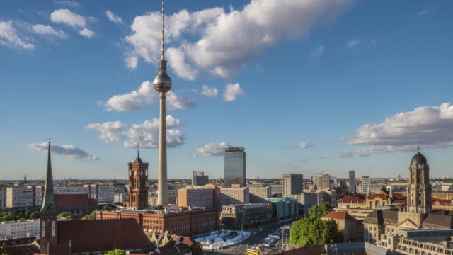 Tilt film video of center Berlin cityscape with television tower