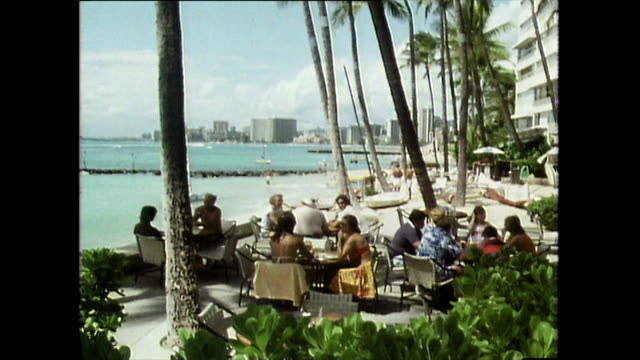 vídeos de stock e filmes b-roll de tilt from palm trees to people eating outdoors; waikiki, 1983 - palmeira