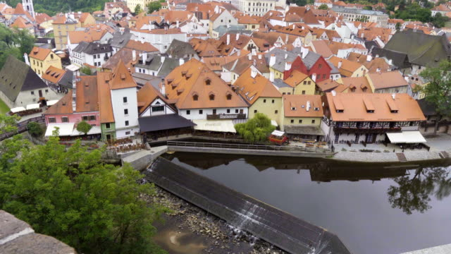 tilt high angle view of cesky krumlov town - bohemia czech republic stock videos & royalty-free footage