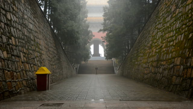 tilt: high wall of dingling  tombs - ming tombs stock videos and b-roll footage