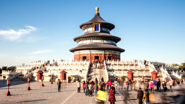 t/l tilt of temple of heaven in beijing, china. - temple of heaven stock videos & royalty-free footage