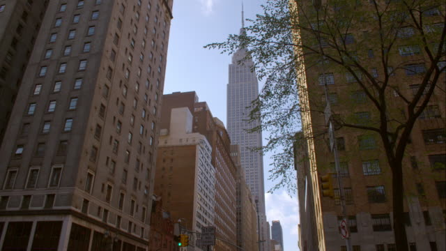 vídeos de stock, filmes e b-roll de tilt of the street on park avenue to the empire states building in manhattan - inclinando se