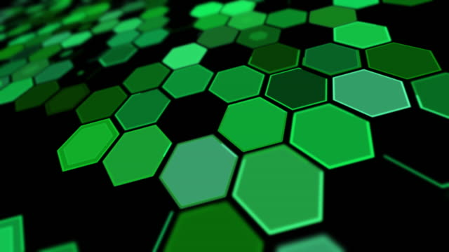 tilt perspective green hexagon background pattern - tilt stock videos & royalty-free footage