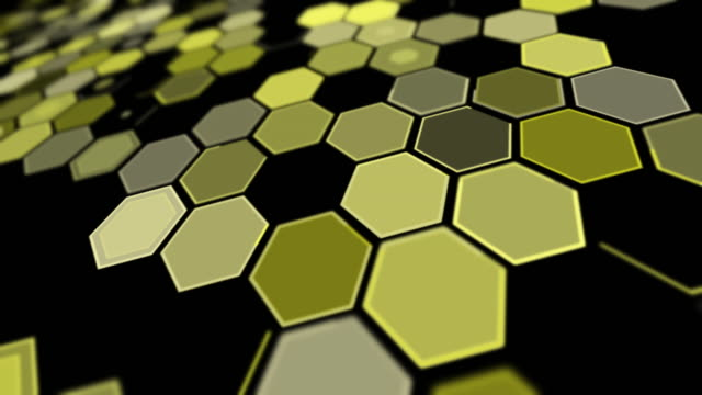 tilt perspective yellow hexagon background pattern - yellow stock videos & royalty-free footage