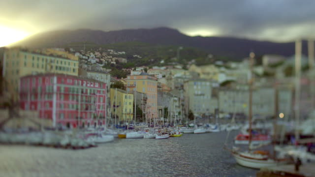 Tilt Shift Sunset over Ajaccio old port, Corsica