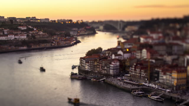 Tilt Shift Timelapse of Rio Douro, Porto, Portugal.