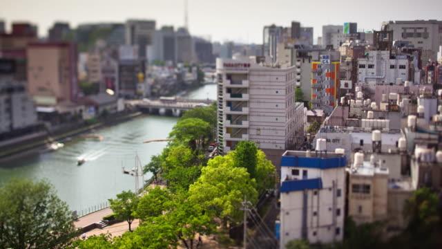 vídeos y material grabado en eventos de stock de tilt shift vista del barrio residencial de fukuoka - lapso de tiempo - fukuoka prefecture