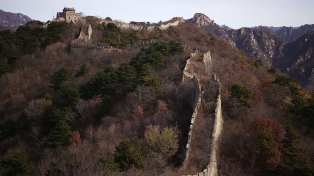 tilt shot of the great wall of china in beijing china - aerial or drone pov or scenics or nature or cityscape stock-videos und b-roll-filmmaterial