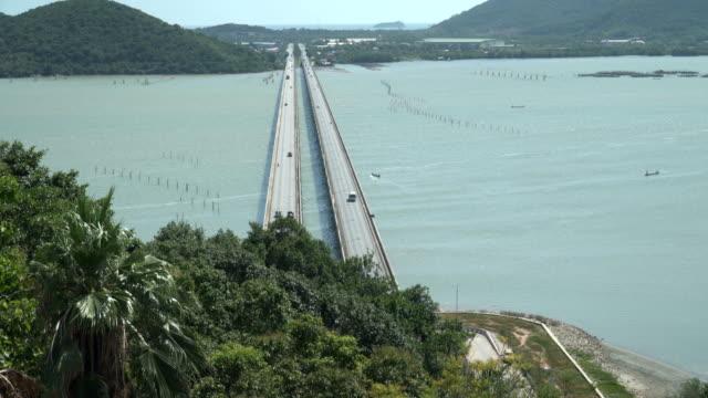 tilt: tinsulanonda bridge concrete bridge are long way in thailand. - songkhla province stock videos and b-roll footage