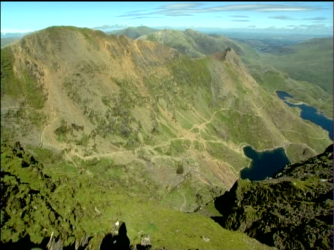 tilt up and pan right over mountains and lakes snowdonia national park - snowdonia stock videos & royalty-free footage