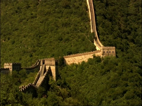 tilt up and pans along great wall of china, mutianyu, china - mutianyu stock videos & royalty-free footage