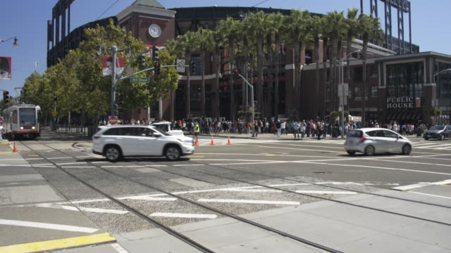 tilt up, at&t park exterior - personal land vehicle stock videos & royalty-free footage