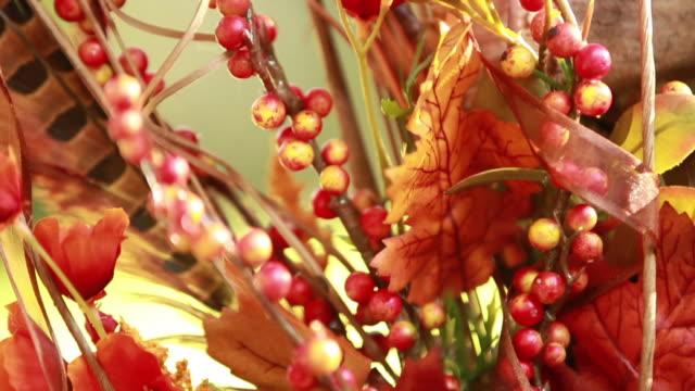 cu tilt up, autumn flower arrangement - flower arrangement stock videos & royalty-free footage