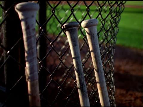Tilt up baseball bats propped against mesh fence, Stockton, California