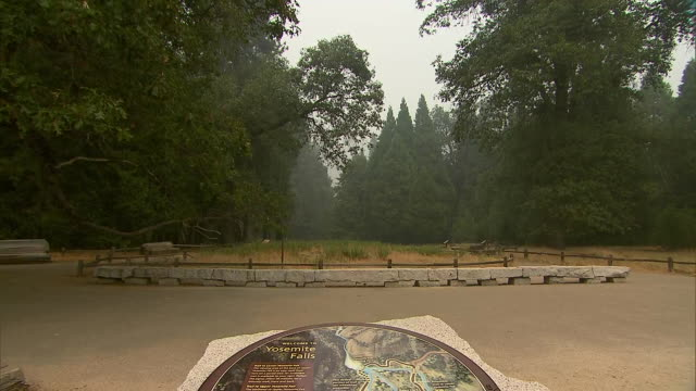 tilt up from a map to a smoky landscape in yosemite national park in california on july 26, 2018. the park was closed to guests due to air quality... - yosemite national park stock videos & royalty-free footage