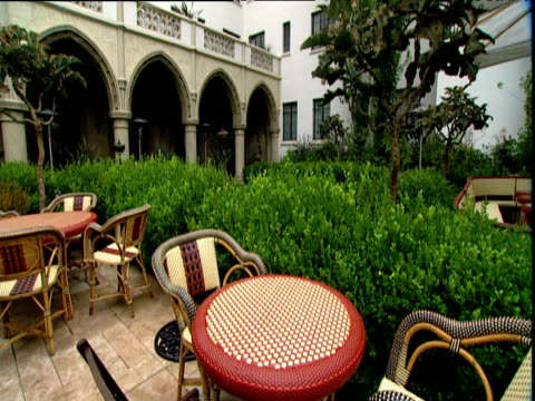 Tilt up from courtyard to surrounding buildings Hotel Chateau Marmont Sunset Strip Los Angeles