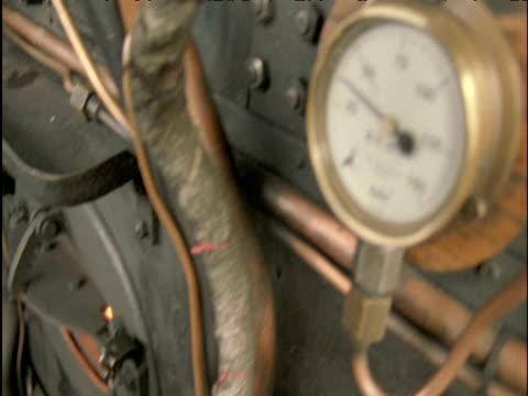 Tilt up from furnace to pressure gauge on steam train Scottish Highlands