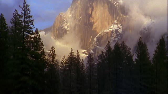 vídeos de stock, filmes e b-roll de tilt up from pine trees to misty half dome with snow / yosemite national park, california - parque nacional de yosemite