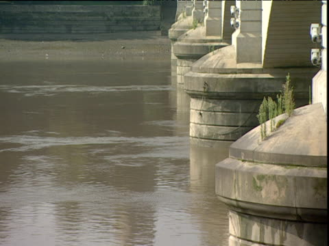 stockvideo's en b-roll-footage met tilt up from river thames at putney bridge to st mary's church tower putney - wandsworth