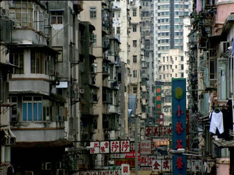 vídeos y material grabado en eventos de stock de tilt up from street in kowloon slums to residential tower blocks in background hong kong - kowloon