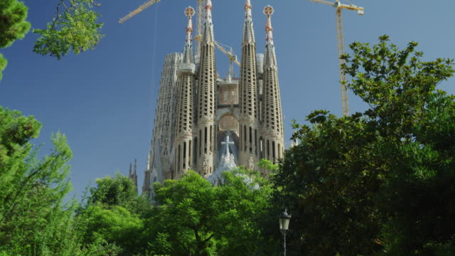 Tilt up from threes to cranes and towers at La Sagrada Familia / Barcelona, Barcelona, Spain