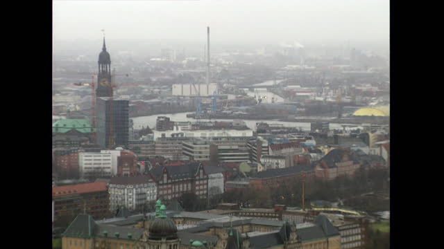 tilt up from traffic to hamburg cityscape; 1998 - 1998 stock videos & royalty-free footage