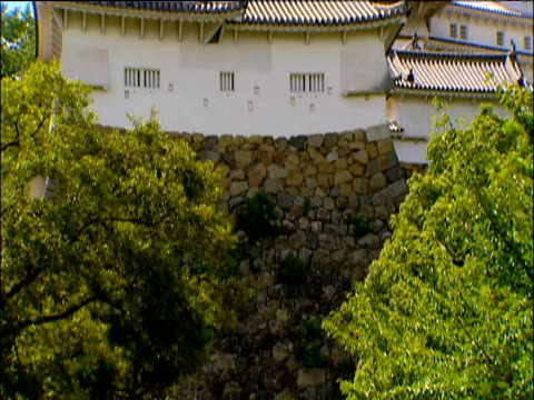 tilt up from trees in front of stone wall to himeji castle japan - 城点の映像素材/bロール