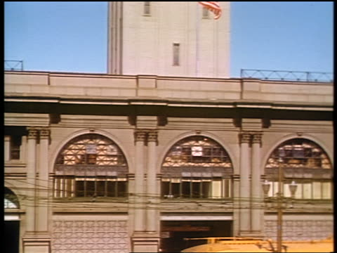 1941 tilt up from trolley to clock tower of Ferry Building / San Francisco / amateur industrial