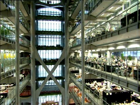 Tilt up interior of Hong Kong Shanghai Bank headquarters Hong Kong