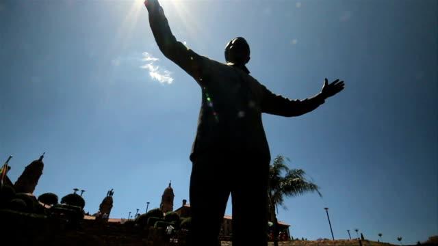 Tilt Up L/A  Mandela's Statue at the Union Buildings/ Pretoria/ South Africa