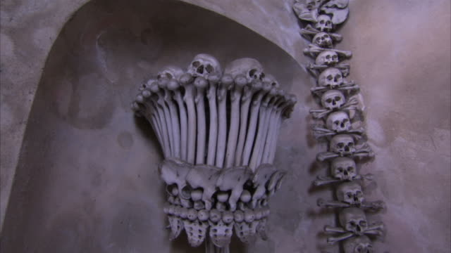 Tilt up monstrance made from human bones in chapel Available in HD.