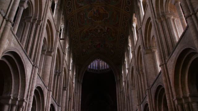 tilt up nave inside ely cathedral - column stock videos & royalty-free footage