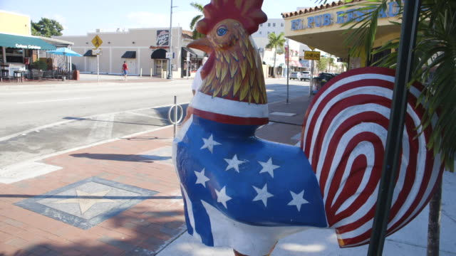 tilt up of an american flag rooster statue in miami - national flag stock videos and b-roll footage