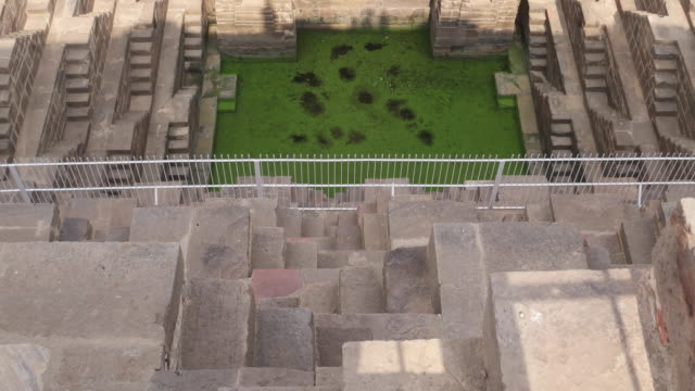 A tilt up of an ancient giant stepwell in Abhaneri, Rajasthan India