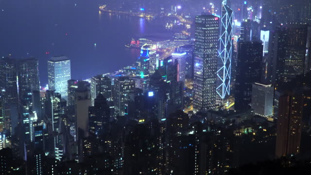 tilt up of skyscraper landscape at hong kong - wanchai stock videos and b-roll footage